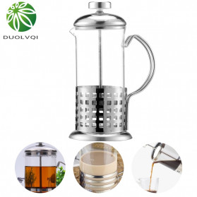 Duolvqi French Press Manual Coffee Maker Pot Grid Pattern 600ml - KG72I - Silver - 3