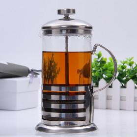Duolvqi French Press Manual Coffee Maker Pot Grid Pattern 600ml - KG72I - Silver - 4