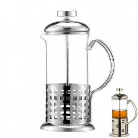 Duolvqi French Press Manual Coffee Maker Pot Grid Pattern 600ml - KG72I - Silver - 5