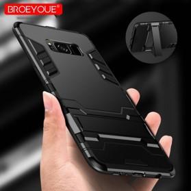 BROEYOUE Armor Hard Case with Kickstand for Samsung Galaxy S9 - Black - 1