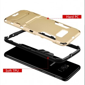 BROEYOUE Armor Hard Case with Kickstand for Samsung Galaxy S9 - Black - 4