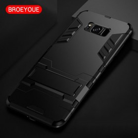 BROEYOUE Armor Hard Case with Kickstand for Samsung Galaxy S9 Plus - Black - 2
