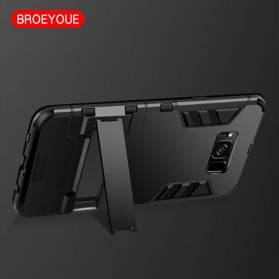 BROEYOUE Armor Hard Case with Kickstand for Samsung Galaxy S9 Plus - Black - 3