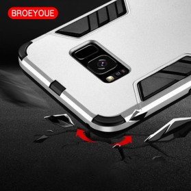 BROEYOUE Armor Hard Case with Kickstand for Samsung Galaxy S9 Plus - Black - 5