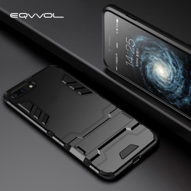 Eqvvol Armor Hard Case Casing with Kickstand for iPhone XS - Black