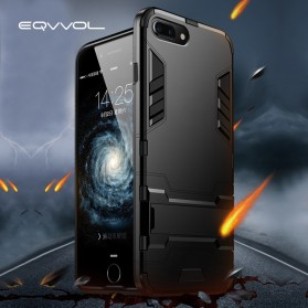 Eqvvol Armor Hard Case with Kickstand for iPhone XR - Black - 2