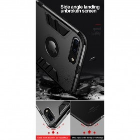 Eqvvol Armor Hard Case with Kickstand for iPhone XR - Black - 7