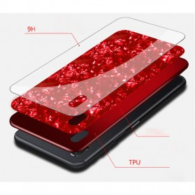 Remax Proda Glass Phone Glitter Shell 3D for iPhone XS Max - Red - 3