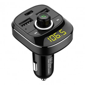 Bluetooth Audio Receiver FM Transmitter Handsfree with USB Car Charger - T19 - Black