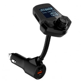 Bluetooth Audio Receiver FM Transmitter Handsfree with USB Car Charger QC3.0 - HY91 - Black