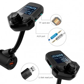 Bluetooth Audio Receiver FM Transmitter Handsfree with USB Car Charger QC3.0 - HY91 - Black - 3