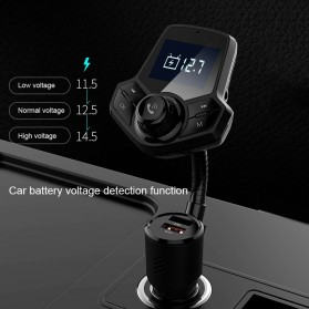 Bluetooth Audio Receiver FM Transmitter Handsfree with USB Car Charger QC3.0 - HY91 - Black - 4