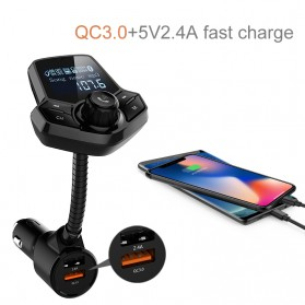 Bluetooth Audio Receiver FM Transmitter Handsfree with USB Car Charger QC3.0 - HY91 - Black - 5