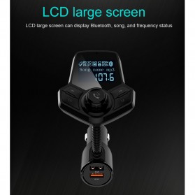 Bluetooth Audio Receiver FM Transmitter Handsfree with USB Car Charger QC3.0 - HY91 - Black - 7