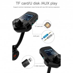 Bluetooth Audio Receiver FM Transmitter Handsfree with USB Car Charger QC3.0 - HY91 - Black - 8