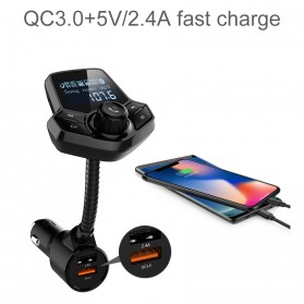 Bluetooth Audio Receiver FM Transmitter Handsfree with USB Car Charger QC3.0 - HY91 - Black - 9