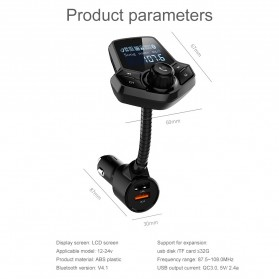 Bluetooth Audio Receiver FM Transmitter Handsfree with USB Car Charger QC3.0 - HY91 - Black - 11