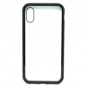 Full Glass Metal Hard Case for iPhone XR - Black