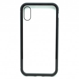 Full Glass Metal Hard Case for iPhone X/XS - Black