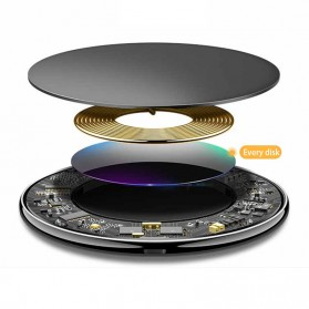 Mouse Pad Kulit with Qi Wireless Charging Dock - A9 - Black - 3
