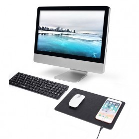 Mouse Pad Kulit with Qi Wireless Charging Dock - A9 - Black - 4