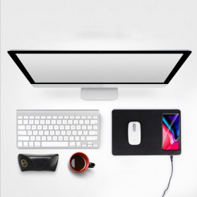 Mouse Pad Kulit with Qi Wireless Charging Dock - A9 - Black - 5