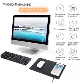 Mouse Pad Kulit with Qi Wireless Charging Dock - A9 - Black - 7