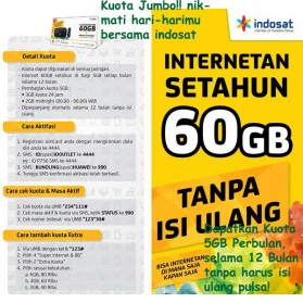 Kartu Perdana Internet ( Sim Card ) - Indosat Internetan 60GB (5GB/Bln) Selama 12 Bulan + SuperWIFI (BELUM AKTIF)