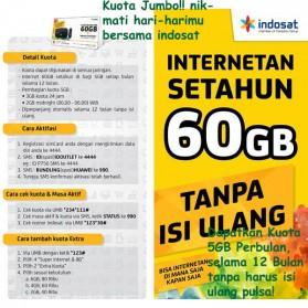 Indosat 4G Internetan 60GB (5GB/Bln) Selama 12 Bulan + SuperWIFI (SUDAH AKTIF)