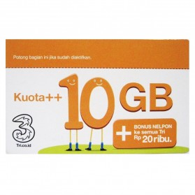 Three Voucher Kuota++ 10GB & Bonus Nelpon 20RB