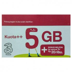 Three Voucher Kuota++ 5GB & Bonus Nelpon 20RB