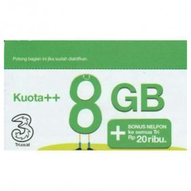 Three Voucher Kuota++ 8GB & Bonus Nelpon 20RB