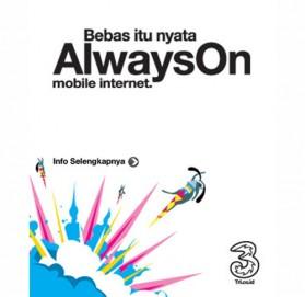 THREE - Always On AON 12 Bulan + Kuota 5GB + Bonus 10GB (4G) (SUDAH AKTIF) - 3