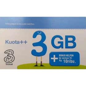 Kartu Perdana Internet ( Sim Card ) - Three Voucher Kuota++ 3GB & Bonus Nelpon 10RB