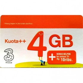Kartu Perdana Internet ( Sim Card ) - Three Voucher Kuota++ 4GB & Bonus Nelpon 10RB