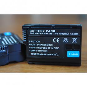 Abdo Baterai Kamera EN-EL15b for Nikon Z6 Z7 D850 D810 D750 D610 D7500 D7200 2PCS - Black