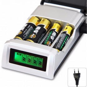 Smart Intelligent LCD 4 Slot Charger Baterai for AA AAA NiMh NiCd - C906W - Black