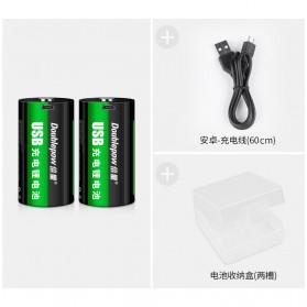 Doublepow Baterai Cas Type D Rechargeable Micro USB 500mAh - Black - 10