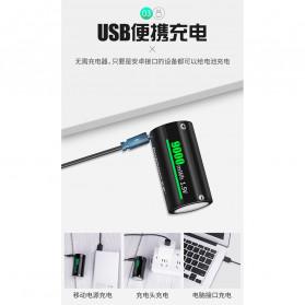 Doublepow Baterai Cas Type D Rechargeable Micro USB 500mAh - Black - 2
