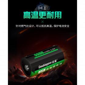 Doublepow Baterai Cas Type D Rechargeable Micro USB 500mAh - Black - 5