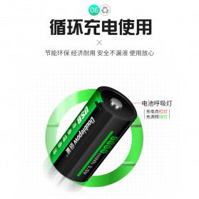 Doublepow Baterai Cas Type D Rechargeable Micro USB 500mAh - Black - 7