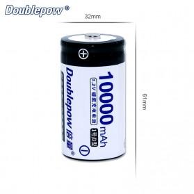 DOUBLEPOW Baterai Cas D Rechargeable Ni-MH 1.2V 10000mAh 2PCS - White - 2