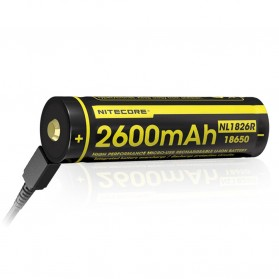 NITECORE 18650 Micro USB Rechargeable Li-ion Battery 2600mAh - NL1826R - Black