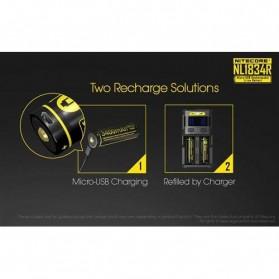 NITECORE 18650 Micro USB Rechargeable Li-ion Battery 3400mAh - NL1834R - Black - 2