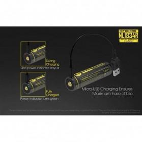 NITECORE 18650 Micro USB Rechargeable Li-ion Battery 3400mAh - NL1834R - Black - 3