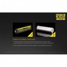 NITECORE 18650 Micro USB Rechargeable Li-ion Battery 3400mAh - NL1834R - Black - 6