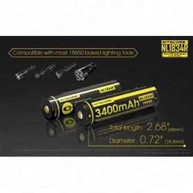 NITECORE 18650 Micro USB Rechargeable Li-ion Battery 3400mAh - NL1834R - Black - 7