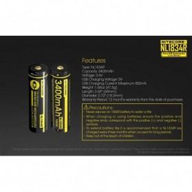 NITECORE 18650 Micro USB Rechargeable Li-ion Battery 3400mAh - NL1834R - Black - 8