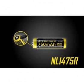 NITECORE 14500 Micro USB Rechargeable Li-ion Battery 750mAh - NL1475R - Black - 2