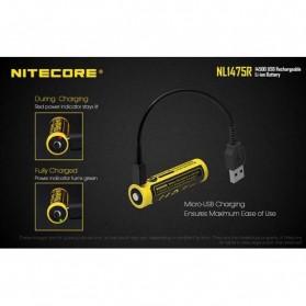 NITECORE 14500 Micro USB Rechargeable Li-ion Battery 750mAh - NL1475R - Black - 4